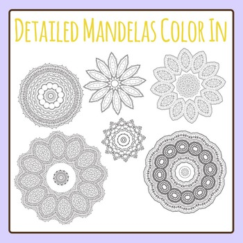 Adult Level Color In Detailed Coloring Mandalas 2 Clip Art