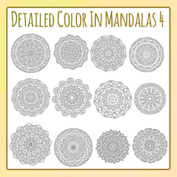 Adult Level Color In Detailed Coloring Mandalas 4 Clip Art