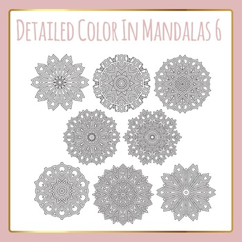 Adult Level Color In Detailed Coloring Mandalas 6 Clip Art for Commercial Use