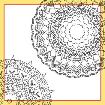 Adult Level Color In Detailed Coloring Mandalas 7 Clip Art for Commercial Use