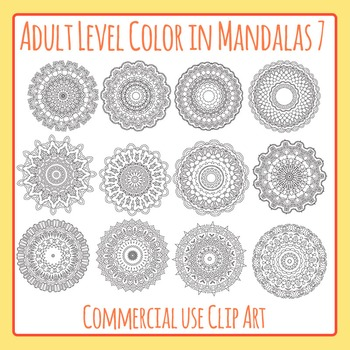 Adult Level Color In Detailed Coloring Mandalas 7 Clip Art