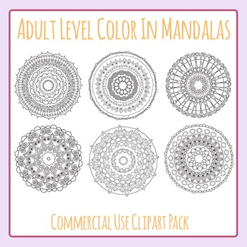 Adult Level Color In Detailed Coloring Mandalas Clip Art