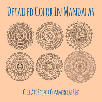 Adult Level Color In Detailed Coloring Mandalas New 001 Clip Art Commercial Use