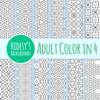 Adult Level Color In Detailed Coloring Patterns 4 / Digital Papers Clip Art
