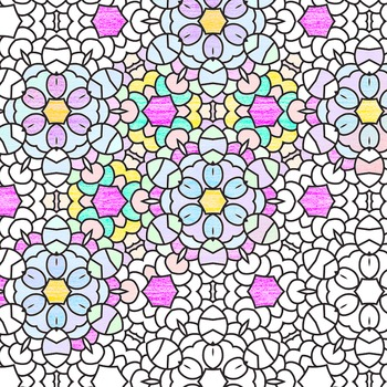 Adult Level Color In Detailed Coloring Patterns 5 / Digital Papers Clip Art