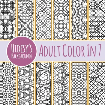 Adult Level Color In Detailed Coloring Patterns 7 / Digital Papers Clip Art