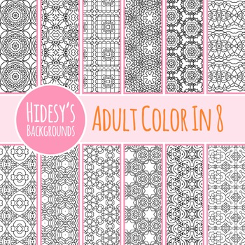 Adult Level Color In Detailed Coloring Patterns 8 / Digital Papers Clip Art