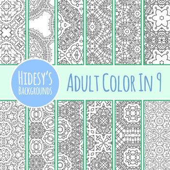 Adult Level Color In Detailed Coloring Patterns 9 / Digital Papers Clip Art