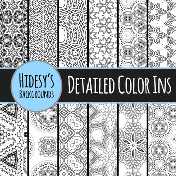 Adult Level Color In Detailed Coloring Patterns / Digital Papers Clip Art
