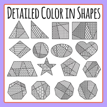 Adult Level Color In Detailed Coloring Shapes Clip Art for Commercial Use