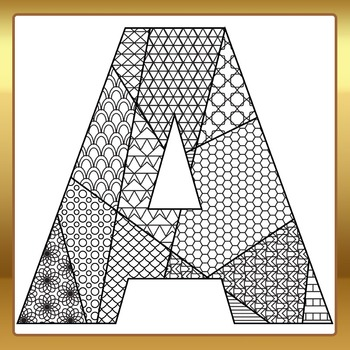 Adult Level Color In Detailed Letters Clip Art Set for Commercial Use