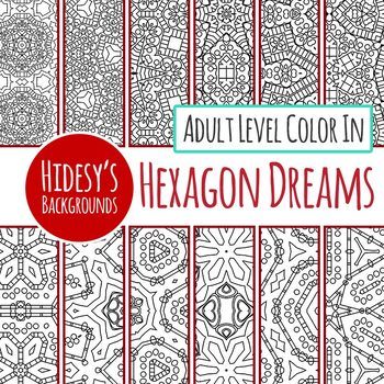 Adult Level Detailed Color In Backgrounds / Digital Paper Black and White