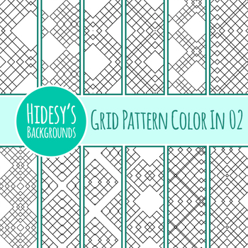 Adult Level Detailed Coloring In Grid Patterns / Digital Paper / Backgrounds