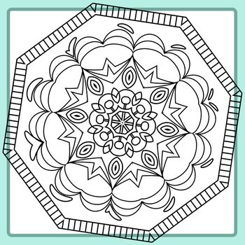Adult Level Detailed Coloring In Hexagon Mandalas Clip Art Set Commercial Use