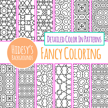 Adult Level Detailed Coloring In Patterns / Digital Paper / Backgrounds