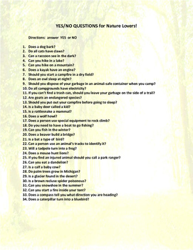 Adult Level Yes/No questions- Nature Themed