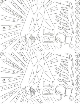 Adult coloring motivational brilliant half sheet activity