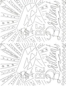 Adult coloring motivational brilliant half sheet activity
