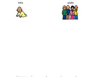 Adult vs. Baby Sorting File Folder Activity (Boardmaker PDF)