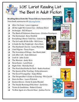 Adult/Teen Booklist Flyer - Summer Reading - Texas Lariat List 2015 *FREE*