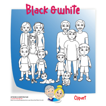 Adults, teens, children, toddlers and grandparents clip art