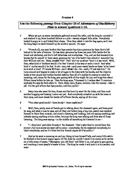 Adv of Huckleberry Finn Ch 25 English skills worksheet by Applied Practice