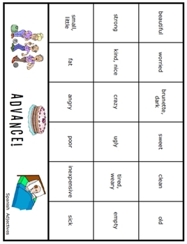 Advance!  Spanish Adjectives game