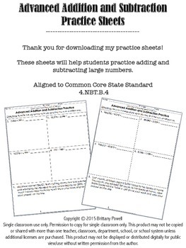 Advanced Addition and Subtraction Practice Sheets