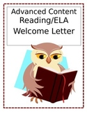 Advanced Content Reading/ELA Back-to-School Newsletter