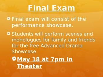 Advanced Drama Back To School Night Powerpoint