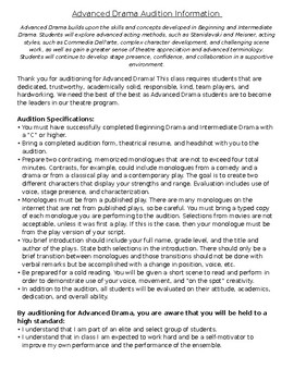 Advanced Drama Class Audition & Teacher Approval Form