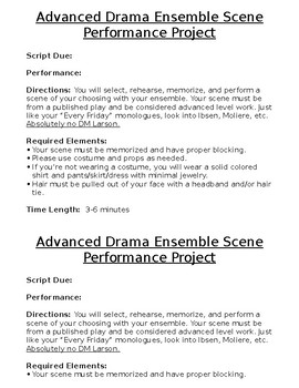 Advanced Drama Ensemble Scene Performance Project