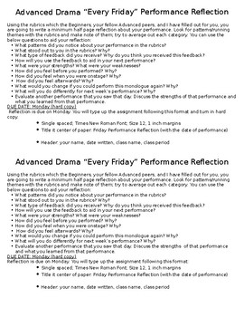 "Advanced Drama ""Every Friday"" Performance Reflection Assignment"