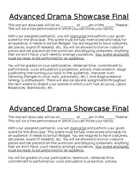 Advanced Drama Showcase Performance Project Assignment