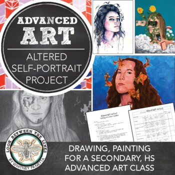Advanced Drawing, 2D Design, or AP Art Lesson: Altered Self Portraits