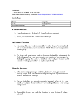 Advanced ESL Article Discussion Lesson - 2009 Word of the Year