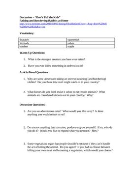 Advanced ESL Article Discussion Lesson - Butchering Rabbits