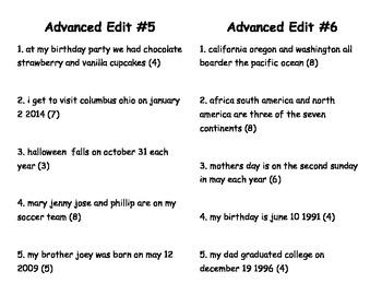 Advanced Edit Cards 5-8 AMAZING ELA TEST PREP!
