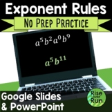 Exponent Rules Practice PowerPoint or Google Slides