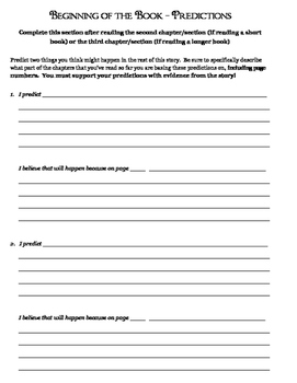 Advanced Fiction Reading Response Packet