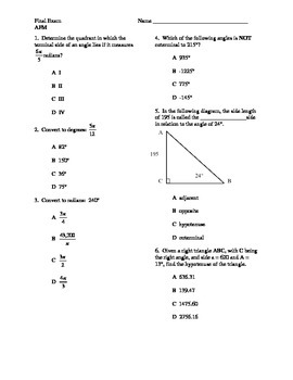Advanced Functions and Modeling / Trigonometry / Algebra 3 Final Exam