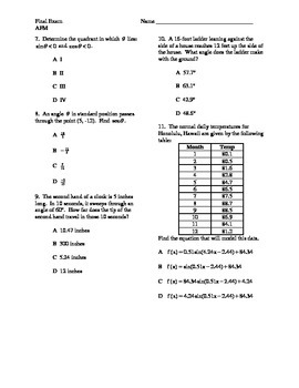 Advanced Functions and Modeling / Trigonometry / Algebra 3 Final Exam