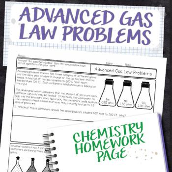 Advanced Gas Law Problems Chemistry Homework Worksheet