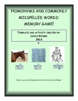Advanced Homonym and Commonly Misspelled Words-Memory Game and Activities!