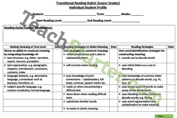 Advanced, Individual and Transitional Reading Rubrics