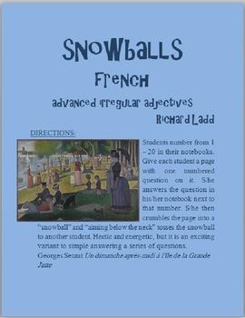 Advanced Irregular Adjectives Snowballs FRENCH