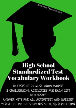 Advanced Language Arts Vocabulary Workbook for High School Standardized Tests
