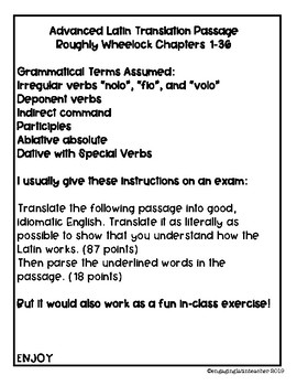 Advanced Latin Translation Activity