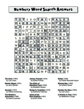 Advanced Newbery Award Word Search Puzzle FREEBIE!