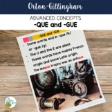 Advanced Orton-Gillingham Activities for -QUE and -GUE